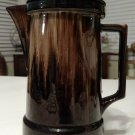 "Vintage 8"" Tall Brown Drip Coffee Pot Pitcher Lid Glazed Pottery Display Only"