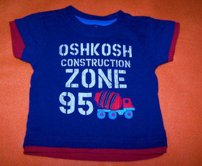 OshKosh Construction Zone 3-6 Months Boys Short Sleeve Tee Shirt- Like New