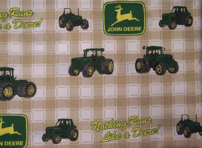 4 Yards 8 inches of John Deere Tractor Fabric with Tan checkered Background NEW