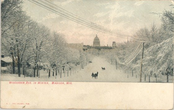 1908 Wisconsin Ave in Winter Madison Wisconsin Postcard Used 1 Cent Stamp