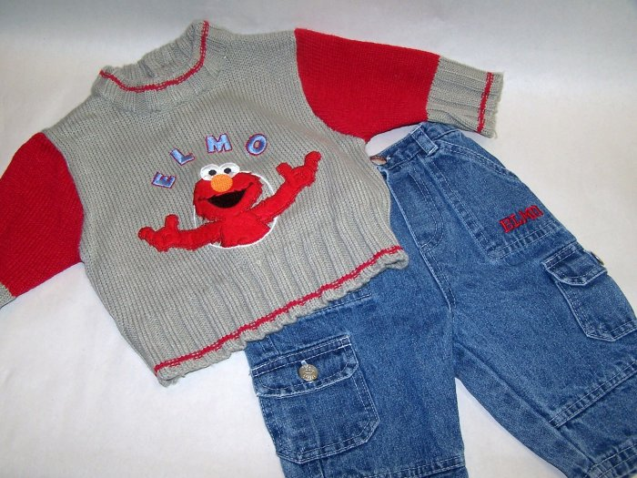 Sesame Street - Elmo Sweater and Jeans 3-6 Months