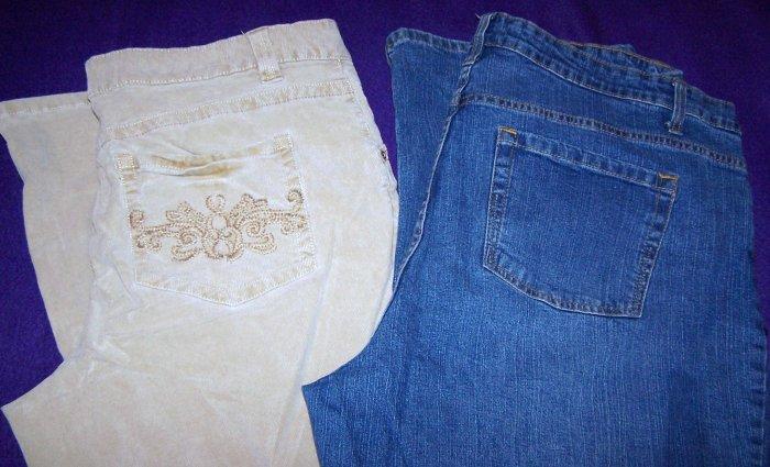 Size 20 Light Brown Saddle Corduroy Pants - Faded Glory Women's