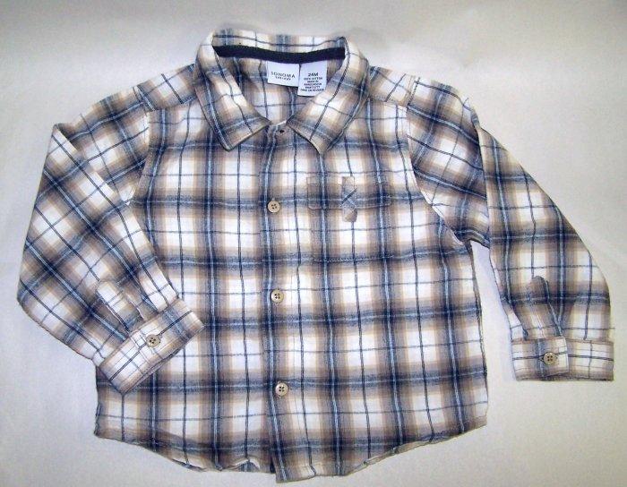 Sonoma Tan Plaid Soft Flannel Long Sleeve Dress Shirt 24 Months