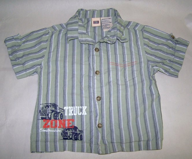 Faded Glory Truck Construction Zone Short Sleeve Button Up Boys Shirt 24 Months