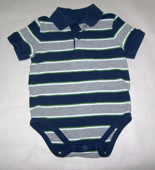Boys Polo Short sleeve onsie Gray and Blue Striped 18 Month Cherokee
