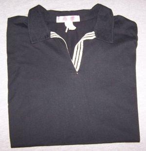 Women's Black 1X Short Sleeve Vneck Tee