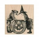 NEW Kids With Giant Jack-o-Lantern RUBBER STAMP, Halloween Stamp,Costume Kids