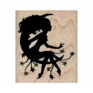 NEW Fairy On Moon Silhouette RUBBER STAMP, Fantasy Stamp, Fairy Stamp, Fay Stamp