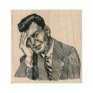 Mounted Rubber Stamp, Thinking Man Stamp, Stressed Man Stamp, Shocked Man Stamp