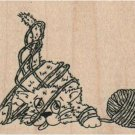 NEW Cat Tangled in Yarn RUBBER STAMP, Cat Stamp, Animal Stamp, Pet Stamp