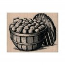 NEW Bushel of Fruit RUBBER STAMP, Apple Stamp, Apple Basket Stamp, Apple Picking