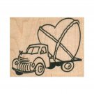 NEW Truck Hauling Heart RUBBER STAMP, Vintage Truck Stamp, Love Stamp, With Love