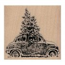 NEW Christmas Tree In Car RUBBER STAMP, VW Stamp, Christmas Stamp, Holiday Fun
