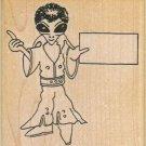 NEW Alien in Jumpsuit w/ Sign Rubber Stamp, Alien Stamp, Elvis Stamp, Area 51