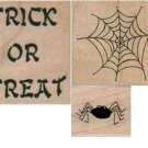 Lot of 3: Halloween RUBBER STAMPS, Trick or Treat, Spider, Spider Web, NEW