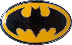 Yellow and Black Batman logo belt buckle