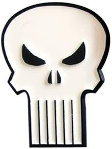 white Punisher belt buckle