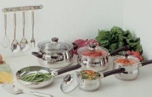 15pc Stainless Steel 5-ply 18/10 Cookware and Utensil Set