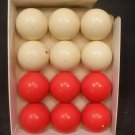 Vintage Sportcraft Bumper Pool Snooker Balls 6 Red 6 White Original Box