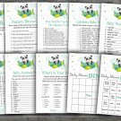 Panda baby shower games package,9 Printable Games-301