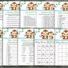 Monkey baby shower games package,baby shower games ,9 Printable Games-298