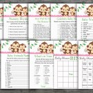Monkey baby shower games package,baby shower games ,9 Printable Games-297