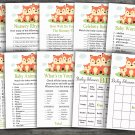 Fox baby shower games package,baby shower games ,9 Printable Games-295