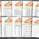 Fox baby shower games package,Family Fox baby shower games package ,9 Printable Games-294