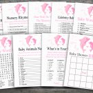 Dolphin baby shower games package,Rose Dolphin baby shower games package,9 Printable Games-200