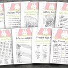 Rose Elephant baby shower games package,Jungle baby shower games package ,9 Printable Games-194