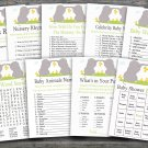 Elephant baby shower games package,Safari baby shower games package ,9 Printable Games-193