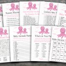 Octopus baby shower games package,Nautical octopus baby shower games package ,9 Printable Games-192