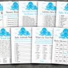 Blue Octopus baby shower games package,Ocean Animal baby shower games package ,9 Printable Games-191