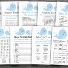 Blue whale baby shower games package,Ocean Animal baby shower games package ,9 Printable Games-190