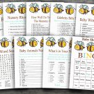 Bee baby shower games package,Bumble Bee baby shower games package ,9 Printable Games-186