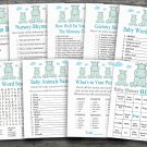Blue Hippo baby shower games package,Hippopotamus baby shower games package ,9 Printable Games-185