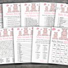 Rose Hippo baby shower games package,Hippopotamus baby shower games package ,9 Printable Games-184