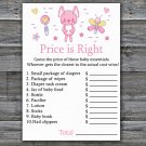 Pink Rabbit Price is Right baby shower game,Rabbit baby shower game,Printable Baby Shower Game-313