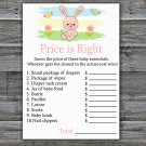 Rabbit Price is Right baby shower game,Rabbit Baby Shower Game,Price is Right Game Printable-310