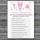 Pink Rabbit Nursery Rhyme Quiz baby shower game,Pink Rabbit Baby Shower Game -313