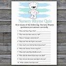 Polar bear Nursery Rhyme Quiz baby shower game,bear Baby Shower Game -312