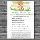 Tiger Nursery Rhyme Quiz baby shower game,Safari Baby Shower Game -311