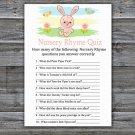 Rabbit Nursery Rhyme Quiz baby shower game,Rabbit Baby Shower Game -310