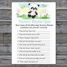 Panda Nursery Rhyme Quiz baby shower game,Panda Baby Shower Game -309
