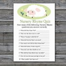 Lamb Nursery Rhyme Quiz baby shower game,Sheep Baby Shower Game -308