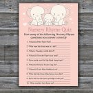 Elephant Nursery Rhyme Quiz baby shower game,Safari Baby Shower Game -306
