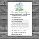 Hippo Nursery Rhyme Quiz baby shower game,Hippo Baby Shower Game -304
