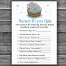 Elephant Nursery Rhyme Quiz baby shower game,Safari  Baby Shower Game -303