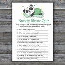 Panda Nursery Rhyme Quiz baby shower game,Panda Baby Shower Game -302