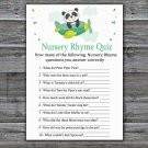 Panda Nursery Rhyme Quiz baby shower game,Panda Baby Shower Game -301